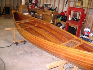 40 year old cedar strip canoe in the shop