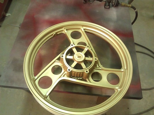 front wheel painted gold