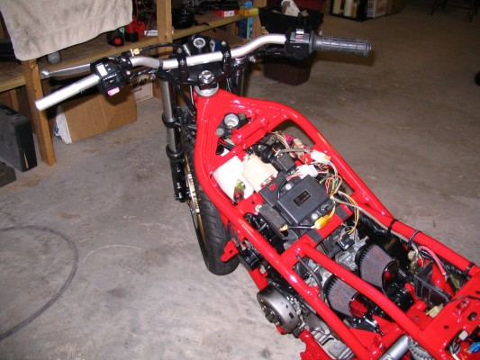 view from the top- Renthal bars and switch gear installed
